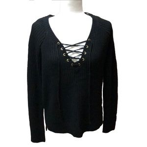 TIMING | NWOT Black Sweater w/ Lace Up Vneck | M